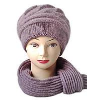 Комплект шапка и шарф женский вязаный Carina шерсть с ангорой сливового цвета