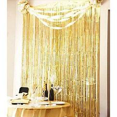 Шторка-завіса з фольги для фотозоны золота 3 х 1 м