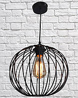 Светильник в стиле лофт подвесной круглый черный