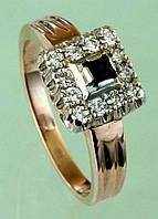 Золотий перстень  з діамантом та сапфіром