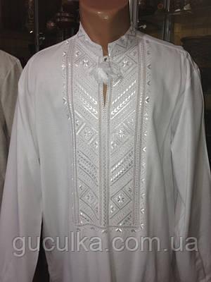 Біла чоловіча сорочка вишита гладдю (ручної роботи)  продажа 8ec2a8bafd0ae