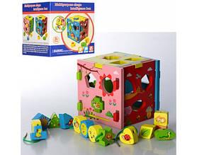Дерев'яна іграшка Сортер-шнурівка