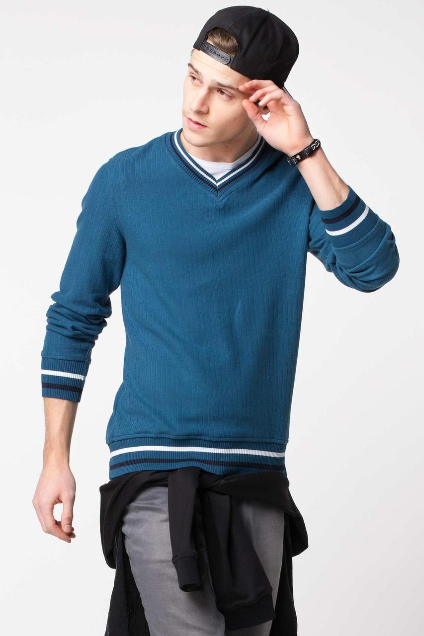 Изумрудный мужской свитер De Facto/Де Факто с V-образной горловиной