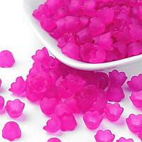 Бусины акриловые матовые, цветок 10х6мм, цвет фуксия