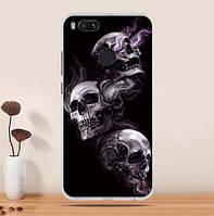 Бампер силиконовый чехол с принтом для Xiaomi Mi A1 / Mi 5x Три черепа