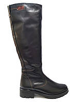 Кожаные женские черные зимние удобные стильные сапоги на устойчивом каблуке 40р Maxi