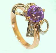 Золотий перстень  з діамантом та аметистом