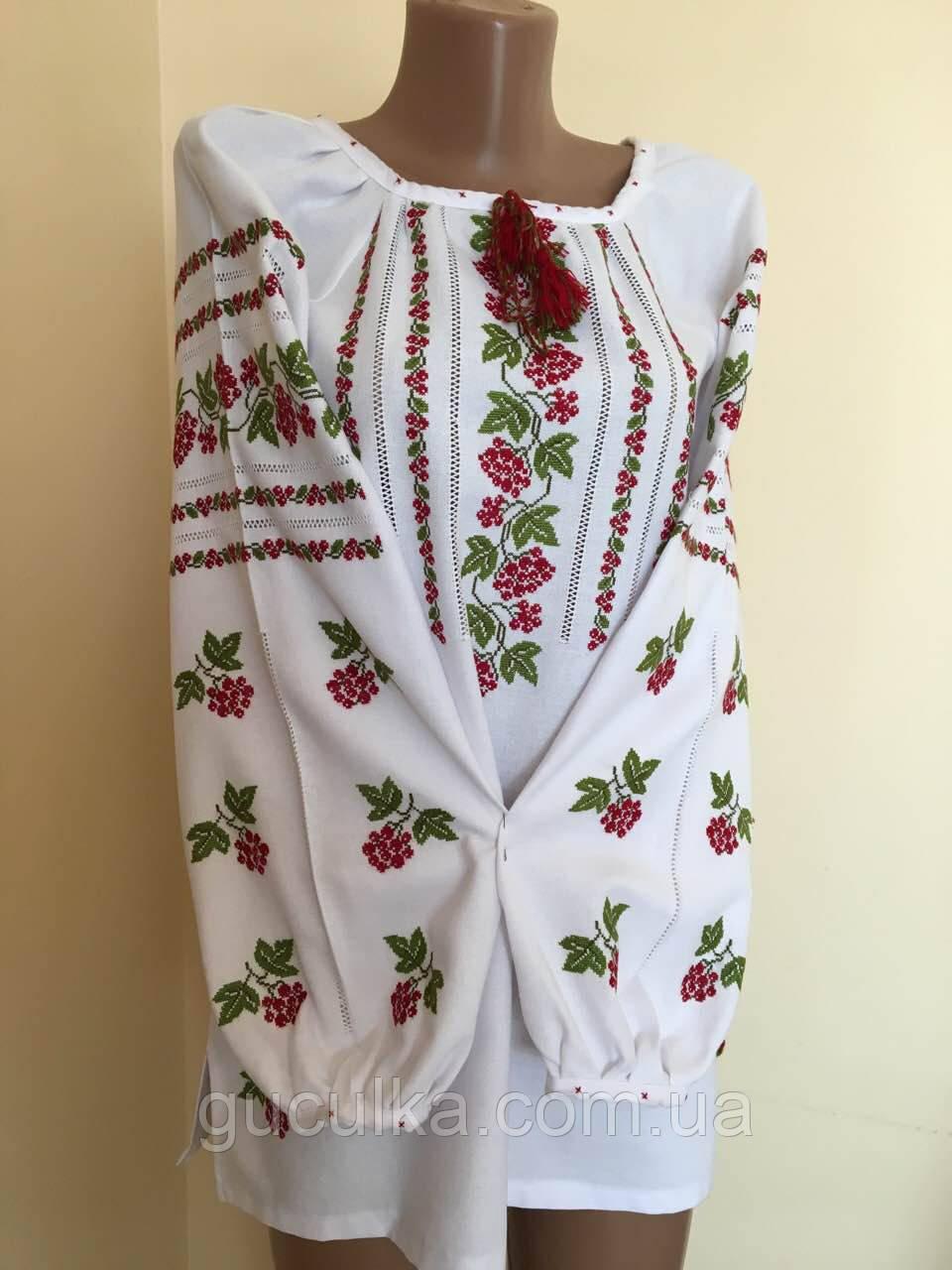Вишита сорочка жіноча Червона Калина ручної роботи розмір 48-50 (2ХL) -  Інтернет 4207543177e47