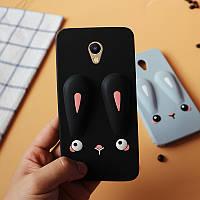 Чехол Бампер 3D для Meizu M2 note резиновый Funny-Bunny черный, фото 1