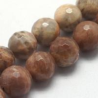 Бусины натуральный лунный камень, круглые, граненые, коричневый УТ000005940