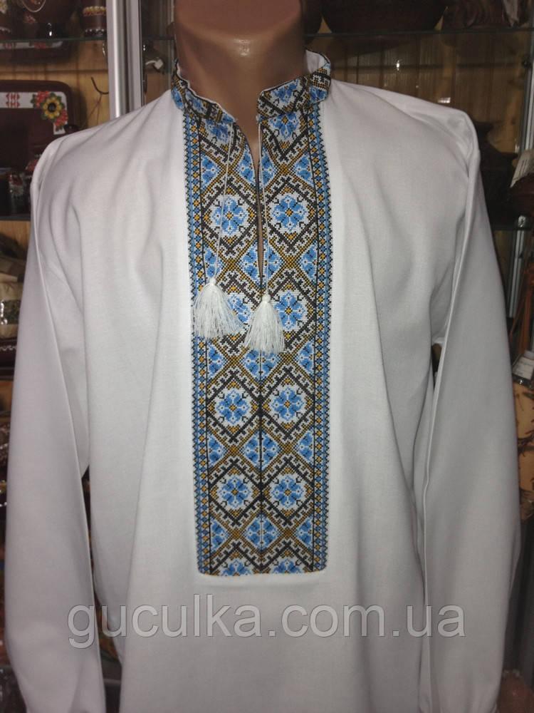 Біла чоловіча вишиванка ручної роботи вишита хрестиком - Інтернет-магазин