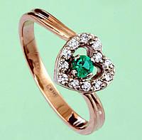 Золотий перстень  з діамантом та самарагдом