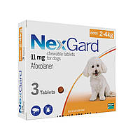 NexGard (НексгарД) XS (2-4кг) - таблетки от блох и клещей в виде жевательных таблеток для собак