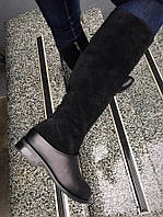 Удобные сапоги зимние женские комбинированы снизу кожа сверху замша зимняя женская обувь