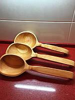 """Ложка дерев'яна ручної роботи з черешні для сауни та бані """"Середня"""""""