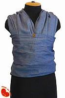 Слинг-шарф из льна 5,0м. Лен синий меланжевый.