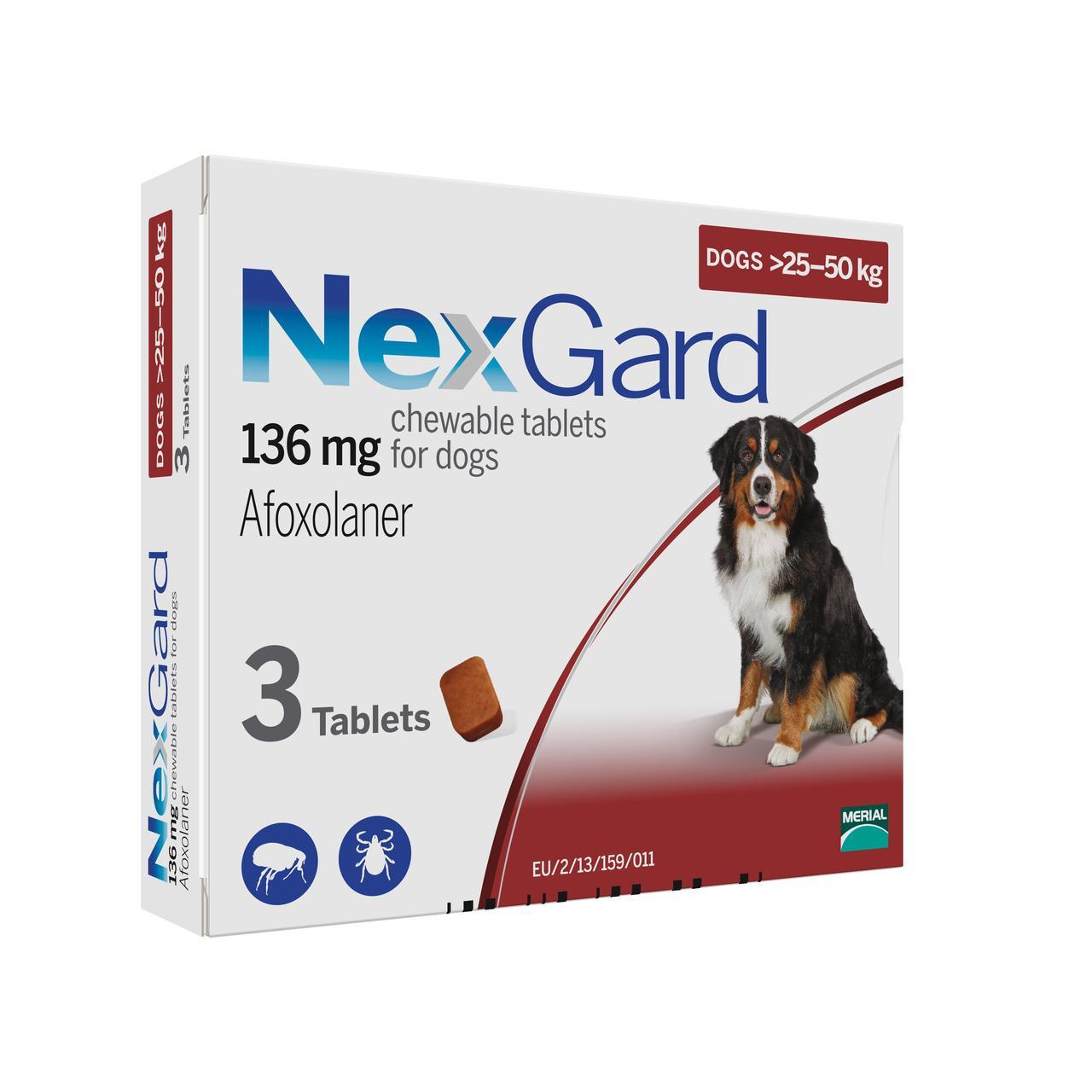 NexGard (НексгарД) XL (25-50кг) - таблетки от блох и клещей в виде жевательных таблеток для собак