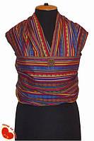 Слинг-шарф из льна с хлопком 5,0м (тонкий). Разноцветные полоси.