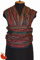 Слинг-шарф из льна с хлопком 5,2м (тонкий). Разноцветный на бордовом.