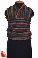 Слинг-шарф из льна с хлопком 5,0м (плотный). Орнаменты на широких полосах.