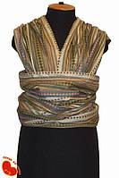 Слинг-шарф из льна с хлопком 5,2м (тонкий). Молочный с орнаментом.