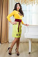 """Женское красивое короткое  платье от производителя  """"Интуиция"""" (желтый+зеленое яблоко)"""