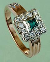 Золотий перстень  з діамантом та смарагдом
