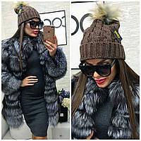 Женская крупная вязка шапка, декор-бубон 22П11031