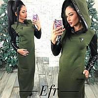 Длинное теплое женское платье на флисе с вставками из эко-кожи
