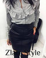 Короткая женская юбка из эко-кожи