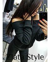 Женский свитер из ангоры с открытыми плечами