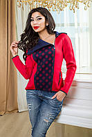 """Женская спортивная модная кофта """"Лори"""" (т.синий+красный) женская одежда  в интернет магазине. Украин"""