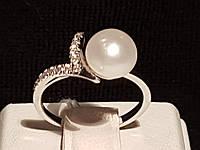 Серебряное кольцо Уали с жемчугом. Артикул 1513/9р-PWT