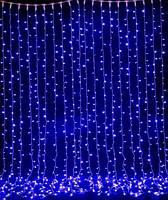 Гирлянда водопад   2 м* 2.7 м    синее свечение провод прозрачный