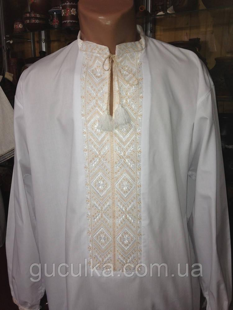 Біла вишиванка чоловіча ручної роботи вишивка гладдю - Інтернет-магазин