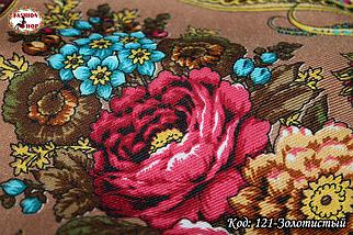 Павлопосадский золотистый платок Адель, фото 2