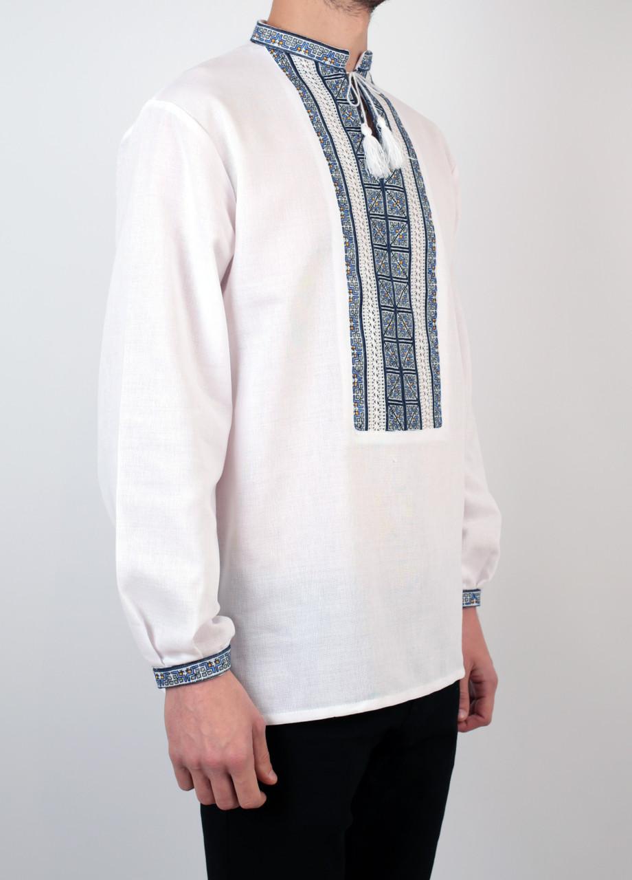 Біла чоловіча вишиванка на довгий рукав з блакитним орнаментом ручної роботи c3105ba82b436