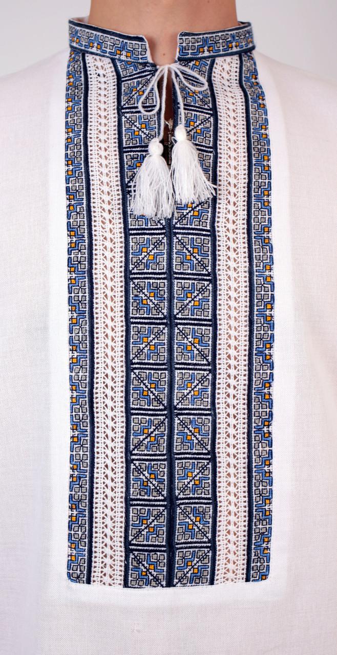 ... Біла чоловіча вишиванка на довгий рукав з блакитним орнаментом ручної  роботи c1b93911c3d45