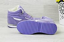 Зимние высокие кроссовки Reebok Classica,фиолетовые, фото 2