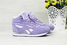 Зимние высокие кроссовки Reebok Classica,фиолетовые, фото 3