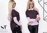 Блуза женская ,Ткань ангора миланж+поплин, блуза - обманка рубашки снизу много цветов ибп №4047