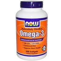 Рыбий жир, Омега 3, Now Foods, поддержка сердечно-сосудистой системы, 200 гелевых капсул