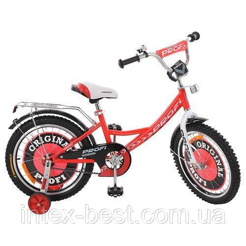 Детский двухколесный велосипед Profi Original boy Красный 18'' (G1845) с приставными колесиками