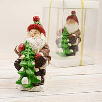 """Шоколадная фигура """"Дед мороз с елкой"""" элитное сырье.Размер 155х80х155,вес 600гр"""