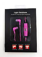 Светящиеся наушники GLOW с EL свечением (Power4) стильный аксессуар (розовые)
