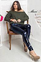 Лосины стильные женские с карманами металлизированная эко кожа разные цвета 2Lmil63