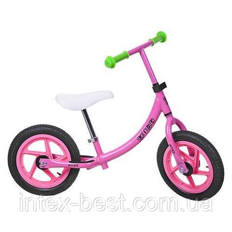 Детский беговел Profi Kids Розовый 12'' (M 3437A-2) с металлической рамой, фото 2