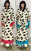 Женский молодежный халат из махры с капюшоном Панда, женские махровые халаты оптом от производителя