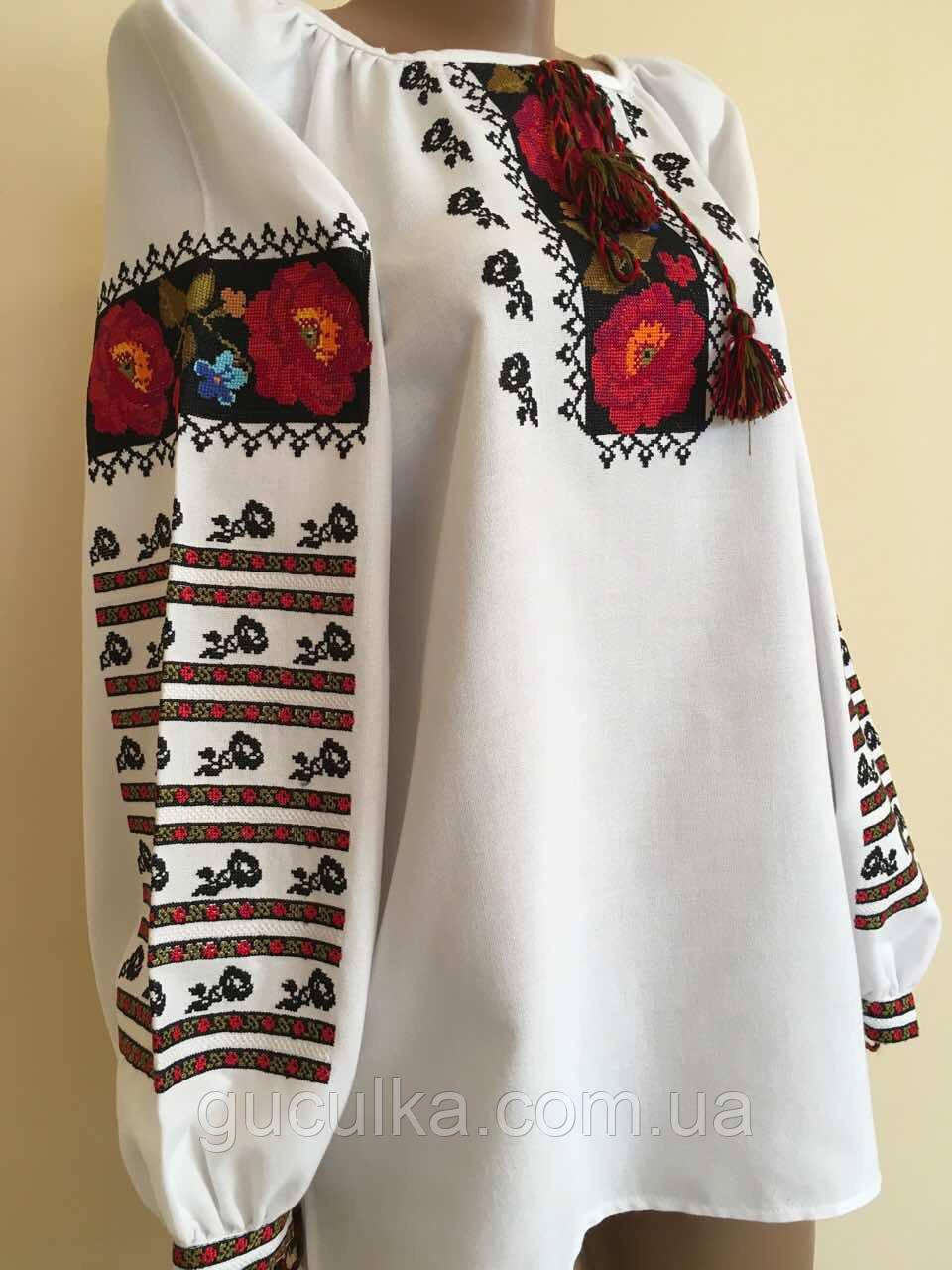 Борщівська вишиванка жіноча на домотканому полотні розмір 52-54 (3ХL) -  Інтернет- 91113440df541