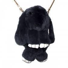 Сумка, рюкзак Кролик темно-серый цвет (натуральный мех)